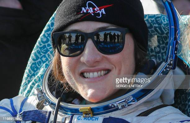 NASA astronaut Christina Koch smiles shortly after landing in a remote area outside the town of Dzhezkazgan Kazakhstan on February 6 2020 NASA's...
