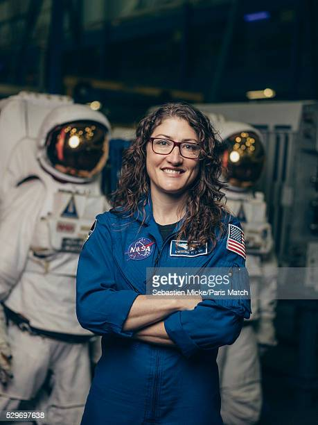 NASA astronaut Christina Koch who has been selected for a manned mission to Mars is photographed for Paris Match at the Johnson Space Center on...