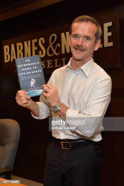 Astronaut Colonel Chris Hadfield appears at a signing for his book An Astronaut's Guide To Life On Earth at Barnes Noble bookstore at The Grove on...
