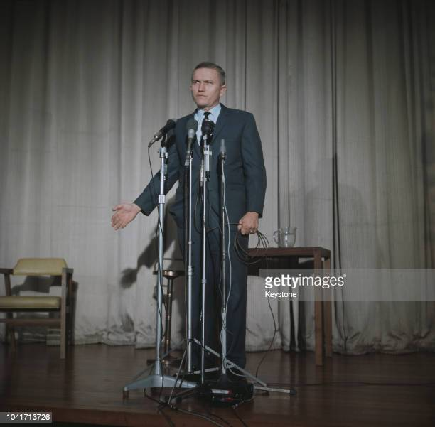 NASA astronaut Colonel Frank Borman addresses an audience in London England 1969 He had taken part in the Apollo 8 spaceflight in December 1968