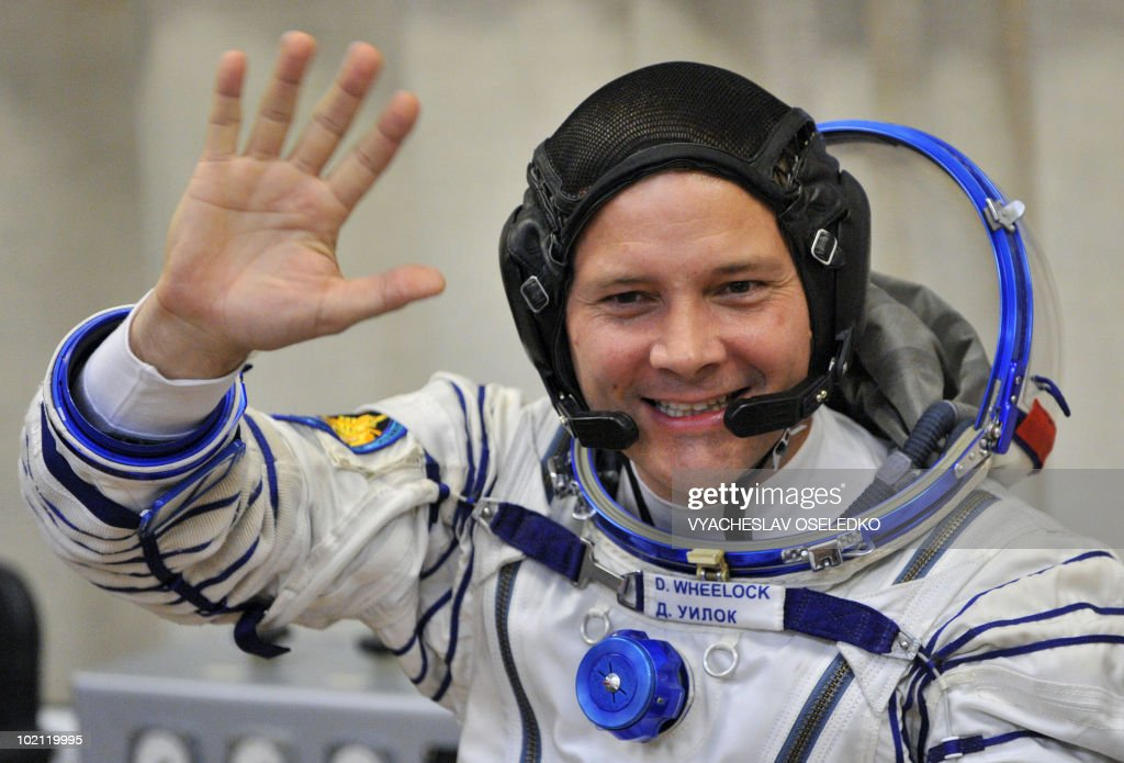 US astronaut Doug Wheelock waves at the Kazakhstan's Russian-leased Baikonur cosmodrome on June 15, 2010, in Baikonur. US astronauts Doug Wheelock, Shannon Walker and Russian cosmonaut Fyodor Yurchikhin are scheduled to fly to the International Space Station (ISS) in a Soyuz TMA-19 spacecraft on June 16, 2010.