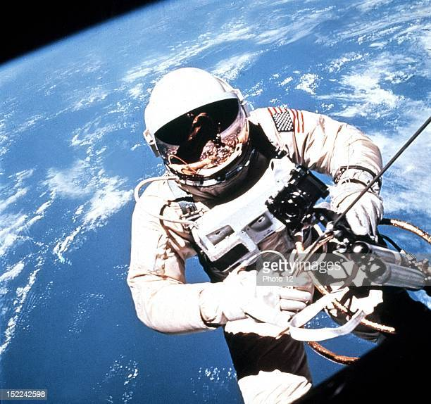 Astronaut Edward White in Extravehicular Activity during the Gemini 4 mission He spent 21 minutes outside the capsule