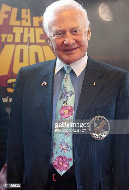 US astronaut Edwin Buzz Aldrin poses during a photocall prior to the premiere of the 3D film by Belgian director Ben Stassen Fly Me to the Moon on...