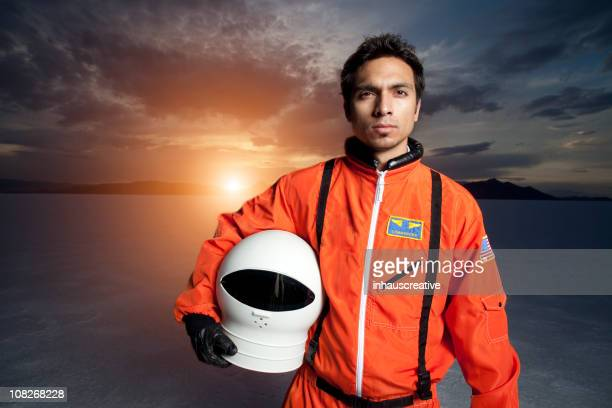 astronaut in space on an alien planet - space helmet stock photos and pictures