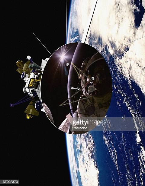 astronaut in space - space station stock pictures, royalty-free photos & images