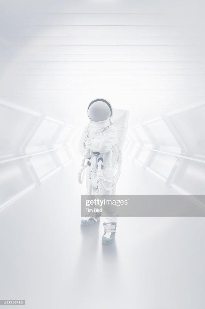 Astronaut in tunnel : Stock Photo