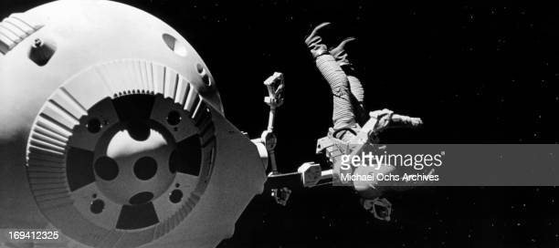 A astronaut is released into space in a scene from the film '2001 A Space Odyssey' 1968