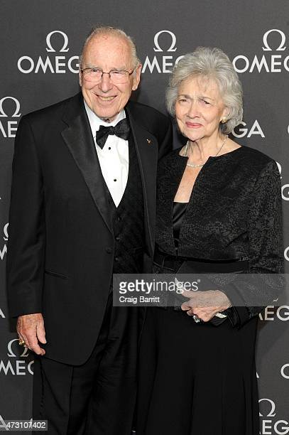 Astronaut Jim Lovell and Marilyn Lovell attend the OMEGA Speedmaster Houston Event at Western Airways Airport Hangar on May 12 2015 in Sugar Land...