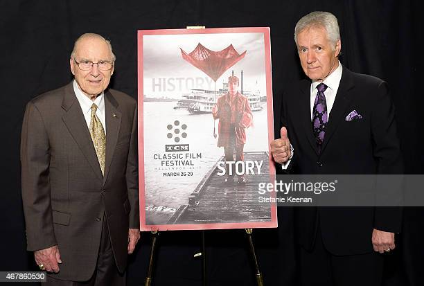 Astronaut Jim Lovell and TV personality Alex Trebek attend the screening of 'Apollo 13' during day two of the 2015 TCM Classic Film Festival on March...