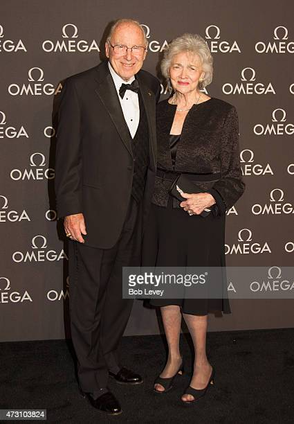 Astronaut Jim Lovell and wife Marilyn Lovell arrive as Omega celebrates the 45th Anniversary of Apollo 13 Mission at Western Airways Airport Hangar...
