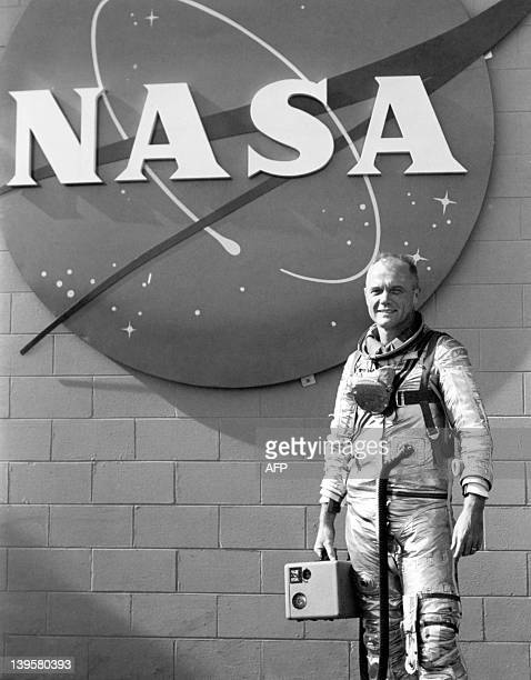 US astronaut John Glenn poses on January 20 1962 during a training session before his 20 February 1962 NASA's Mercury program space flight aboard in...