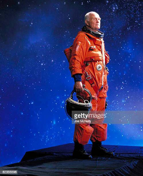Astronaut John Glenn trains for a space mission aboard the Discovery on October of 1998 in Houston Texas John Glenn returns to space aboard Discovery...