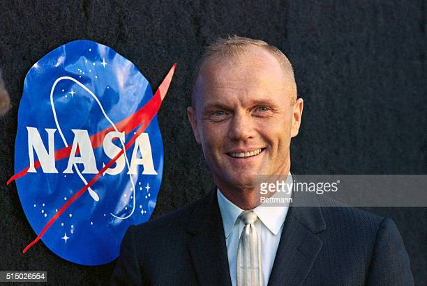 Astronaut John Glenn with NASA Logo