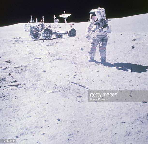 Astronaut John W Young Commander of the Apollo 16 lunar landing mission collects samples at the North Ray Crater of the moon 23rd April 1972 The...