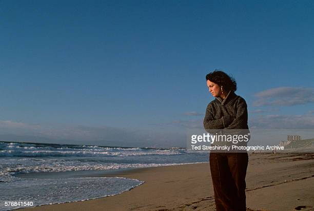 Astronaut Judith Resnick walks on the beach at Newport Beach California in 1980 She would be killed in the explosion of the Space Shuttle Challenger...