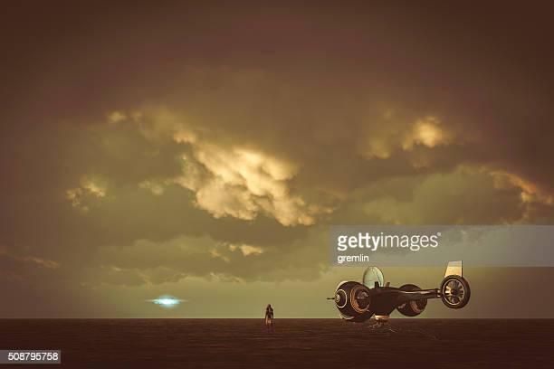 Astronaut landing on flat alien planet, ufo