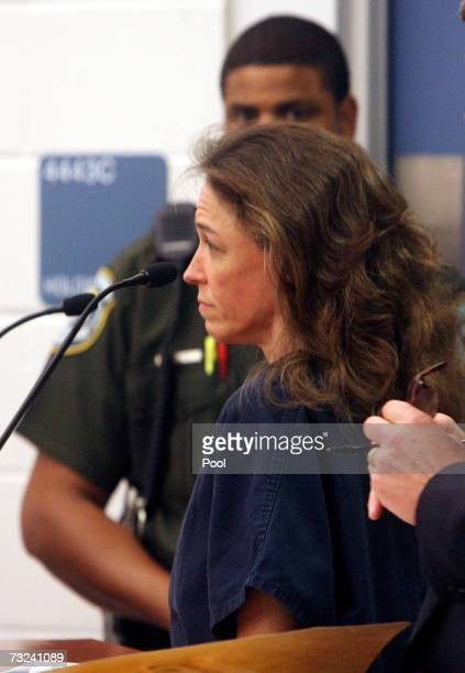 Astronaut Lisa Nowak appears before judge Mike Murphy at an Orlando Corrections facility in February 6 2007 in Orlando Florida Nowak was charged with...