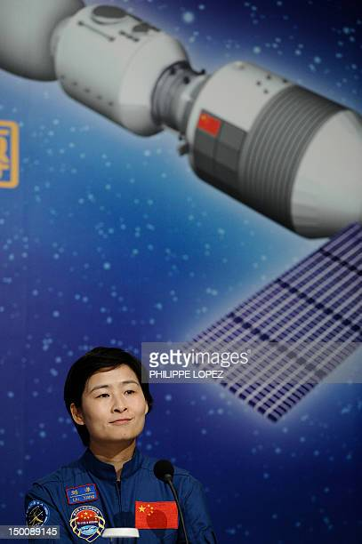 Astronaut Liu Yang of the Tiangong1/Shenzhou9 Manned Space Docking and Rendezvous Mission delegation attends a press conference in Hong Kong on...