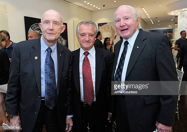 Astronaut Lt General Thomas Stafford President of the New York Association of American Russian Relations William J D'Eletto and astronaut Vance Brand...