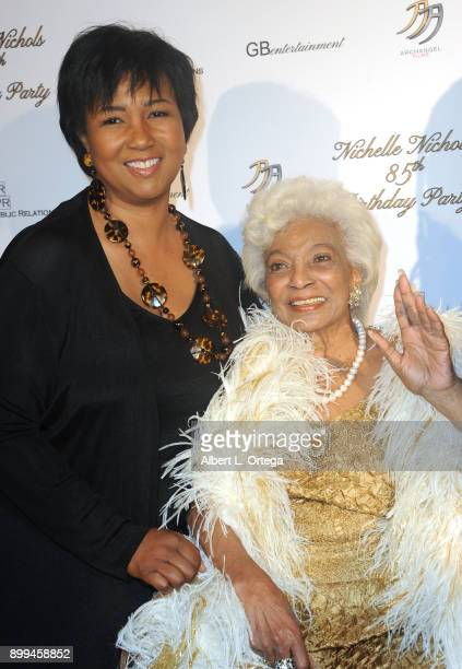 Astronaut Mae Jemison and actress Nichelle Nichols arrive for her 85th birthday celebration held at La Piazza/The Grove on December 28 2017 in Los...