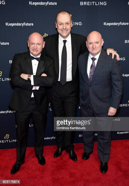 Astronaut Mark Kelly Breitling USA President Thierry Prissert and astronaut Scott Kelly on the red carpet at the #LEGENDARYFUTURE Roadshow 2018 New...