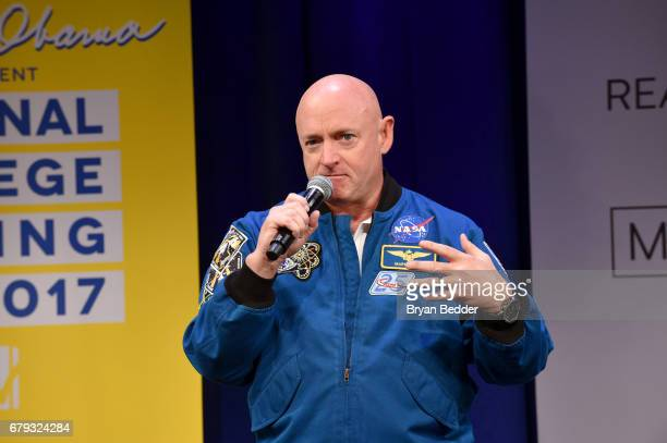 Astronaut Mark Kelly speaks onstage during MTV's 2017 College Signing Day With Michelle Obama at The Public Theater on May 5, 2017 in New York City.