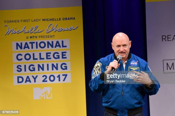 Astronaut Mark Kelly speaks onstage during MTV's 2017 College Signing Day With Michelle Obama at The Public Theater on May 5 2017 in New York City