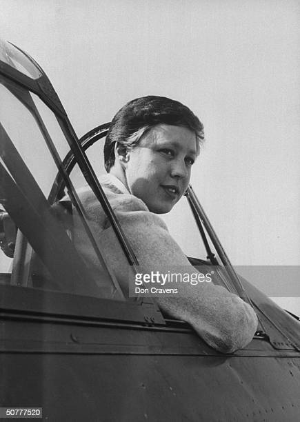 Astronaut Mary Wallace Funk, sitting in the cockpit of an AT-6 training plane at Hawthorne airport.