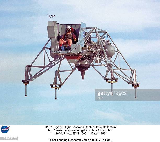 US astronaut Neil Armstrong aboard a simulator practices piloting safely the Lunar Landing Research Vehicle in 1967 two years before Apollo XI space...