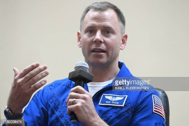 NASA astronaut Nick Hague a member of the International Space Station expedition 59/60 attends a press conference at the Russianleased Baikonur...