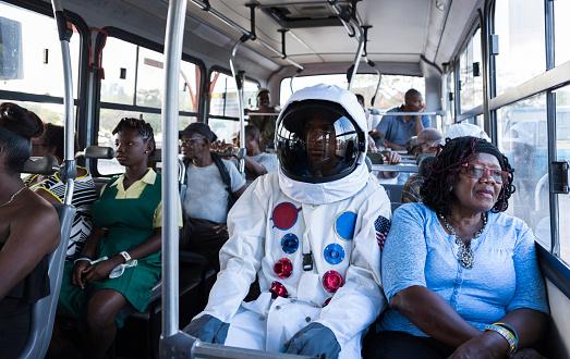 Astronaut On Bus - gettyimageskorea
