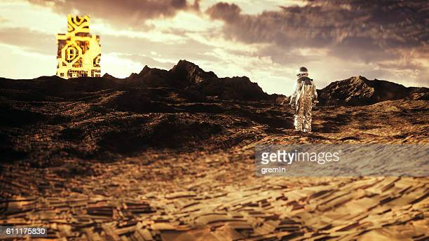 Astronaut on distant planet, discovery, artifact