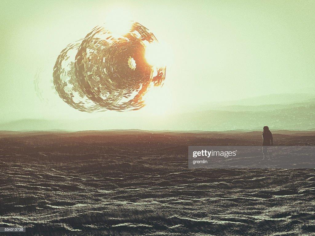 Astronaut on distant planet, UFO, concept : Stock Photo