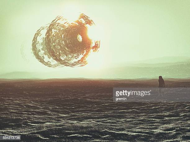 astronaut on distant planet, ufo, concept - spaceship stock photos and pictures