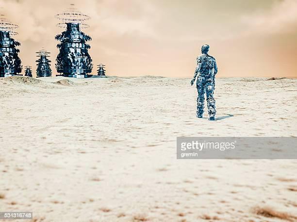 Astronaut on distant planet, UFO, concept