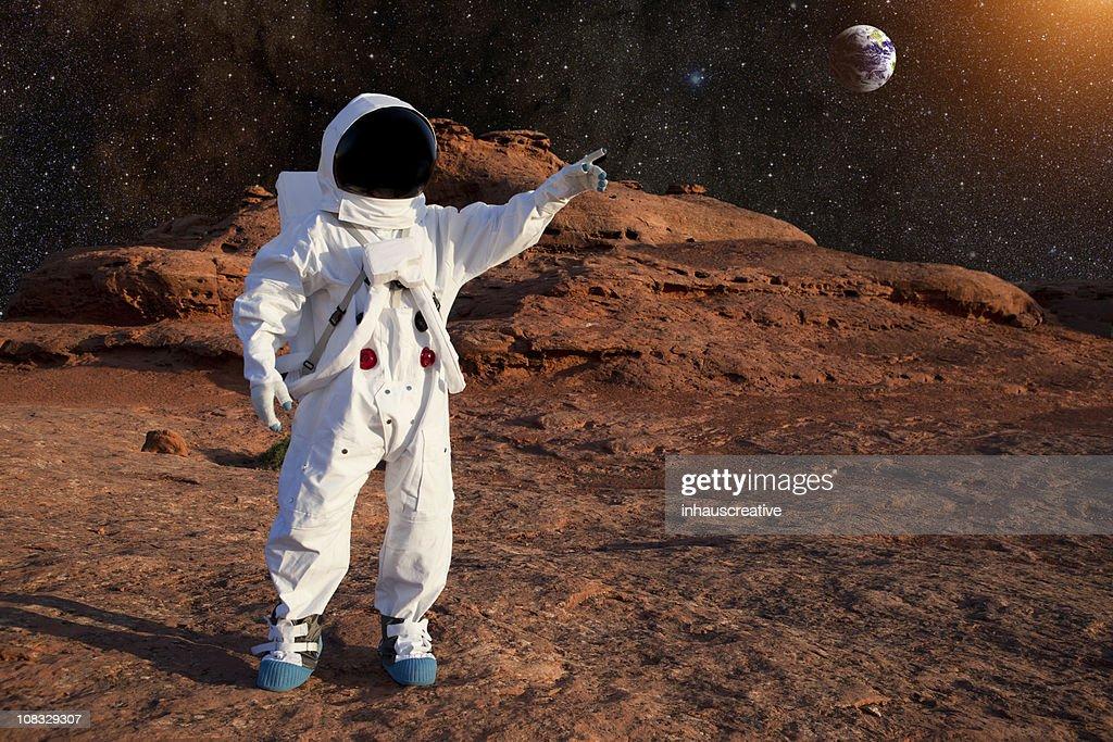 Astronaut On Mars : Stock Photo