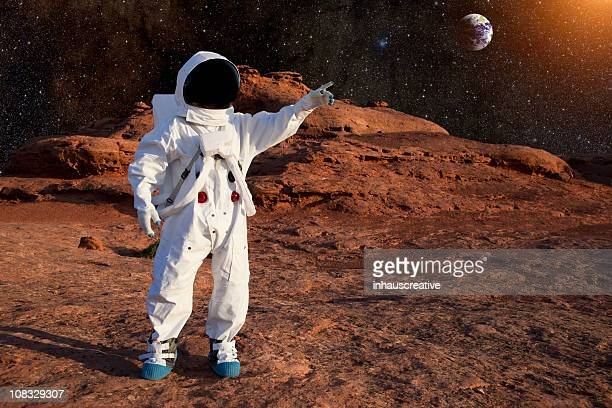 astronaut on mars - mars stock pictures, royalty-free photos & images