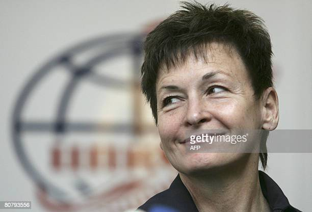 Astronaut Peggy Whitson of the US attends a press conference outside Moscow in Star City on April 21 2008 The first South Korean in space together...