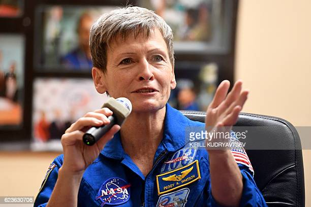 US astronaut Peggy Whitson takes part in a press conference at the Russianleased Baikonur cosmodrome on November 16 2016 The International space crew...