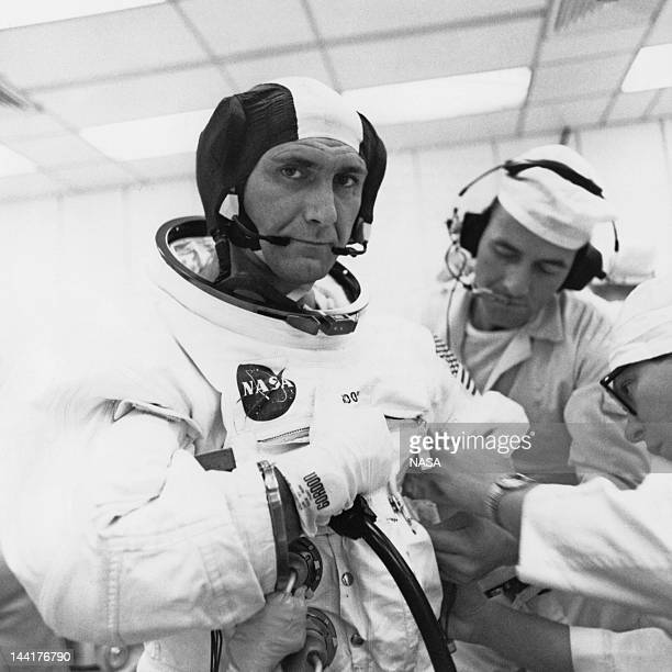 NASA astronaut Richard Francis Gordon Jr the Command Module Pilot for the Apollo 12 mission during the Countdown Demonstration Test at the Kennedy...