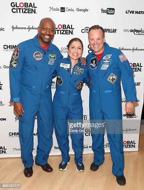 NASA astronaut Ron Garan businesswoman and selffunded space traveler Anousheh Ansari and NASA astronaut Leland Melvin pose backstage at Global...