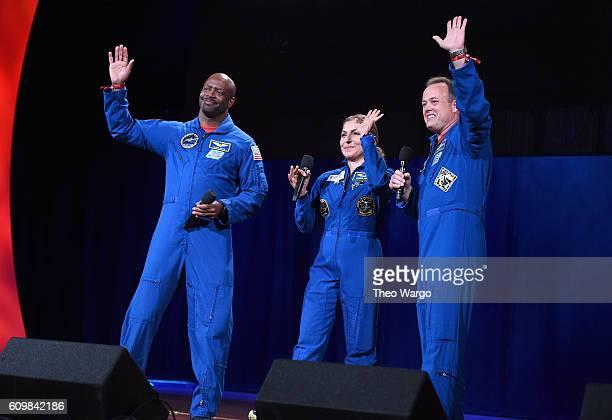 NASA astronaut Ron Garan businesswoman and selffunded space traveler Anousheh Ansari and NASA astronaut Leland Melvin speak onstage during Global...
