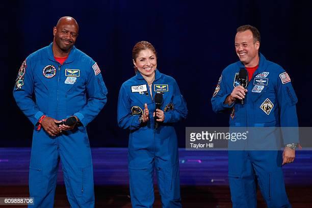 NASA astronaut Ron Garan businesswoman and selffunded space traveler Anousheh Ansari and NASA astronaut Leland Melvin speak onstage during 2016...