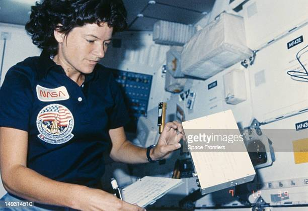 NASA astronaut Sally Ride in the interior of the Challenger space shuttle during the STS41G mission October 1984 In 1983 she became the first...