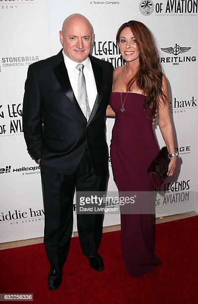 Astronaut Scott Kelly and Amiko Kauderer attend the 14th Annual Living Legends of Aviation Awards at The Beverly Hilton Hotel on January 20 2017 in...