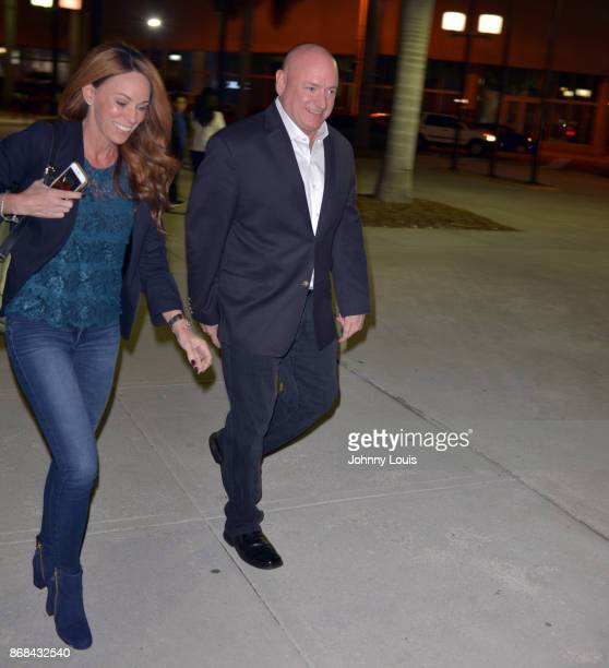 Astronaut Scott Kelly and fiance Amiko Kauderer see leaving Miami Dade College after a Conversation With Dr Jorge PerezGallego about Kelly new book...