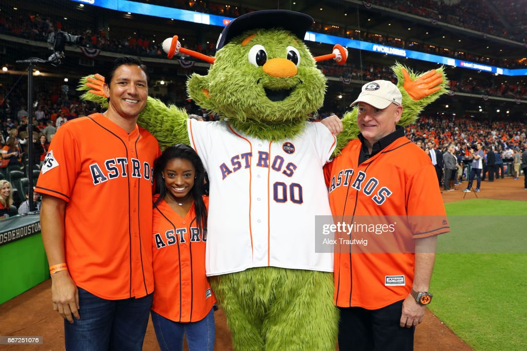 Astronaut Scott Kelly, Houston Dynamo legend Brian Ching and gold medal Olympian Simone Biles pose for a photo with Orbit prior to Game 3 of the 2017 World Series between the Los Angeles Dodgers and the Houston Astros at Minute Maid Park on Friday, October 27, 2017 in Houston, Texas.