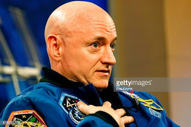 Astronaut Scott Kelly speaks to the media after returning from a one year mission in space aboard the International Space Station at the Johnson...