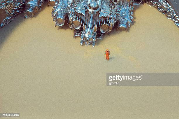 Astronaut stranded on an alien planet
