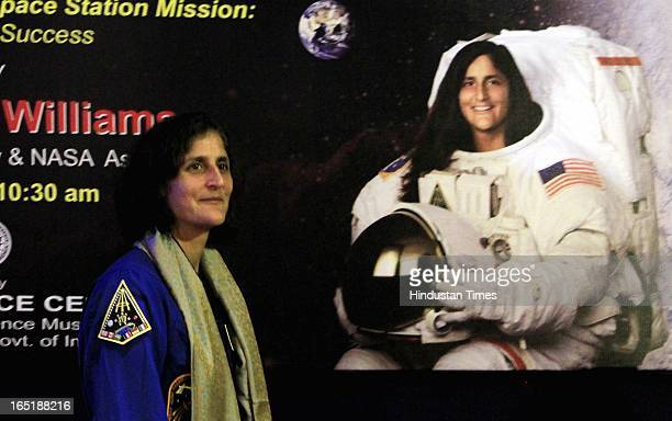 Astronaut Sunita L Williams during an interaction with School children organised by the National Science Centre on April 1 2013 in New Delhi India